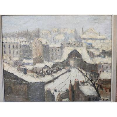 Paris 20th Petite Couronne Rue Courat Under The Snow Signed Couturier