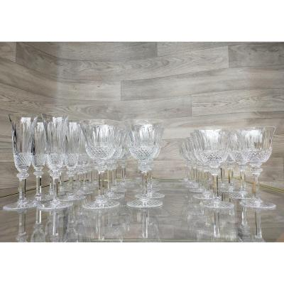 Crystal Service From Saint Louis Tommy Flutes, Water, Wine 35 Pieces