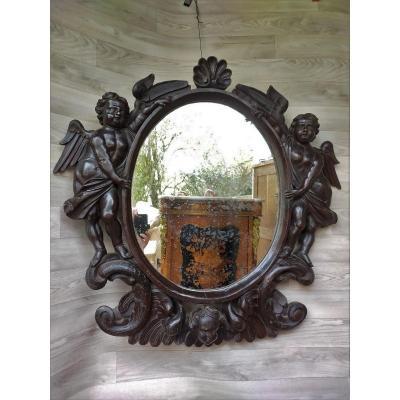 Grand Miroir De Château Aux Angelots  XVIIIème
