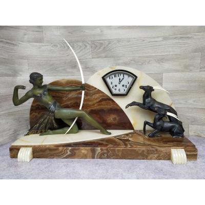 Spectaculaire Pendule Art Déco Diane Chasseresse (marcel André Bouraine)