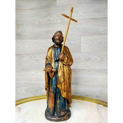 Saint Personnage Tenant La Croix XVIIIème
