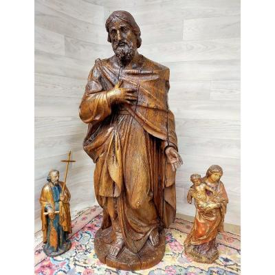 Important Saint Personnage En Bois Sculpté Du XVIIème