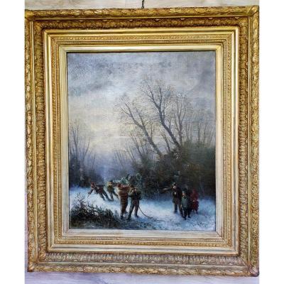 La Coupe De Bois Sous La Neige XIXème Edouard Ferey