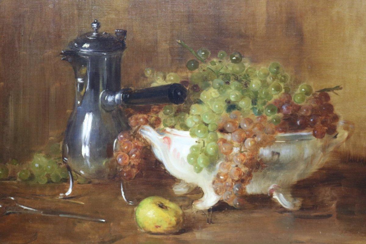Ernest Bordes (1852 -1914) ''Nature morte à la verseuse et coupe de raisins'' Huile sur toile