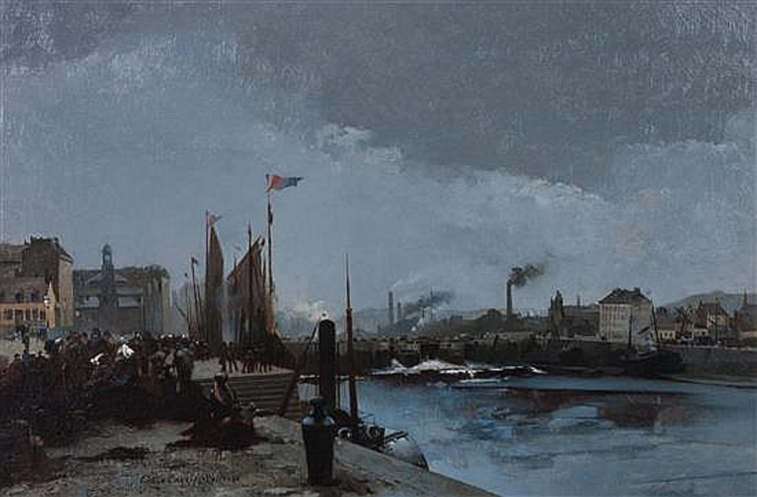 Louis-robert-carrier-belleuse (1848 - 1913) '' Port Of Saint-valery-en-caux ''