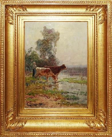 Clovis Terraire (1858 - 1931) ``cow At The Watering Hole''
