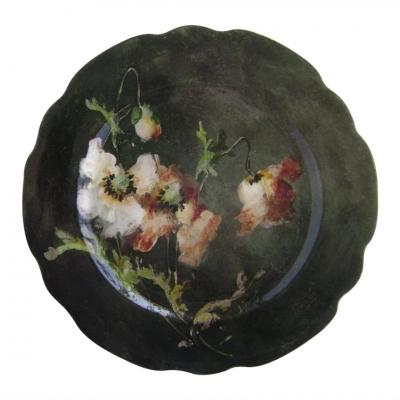 19th Century Impressionist Majolica Plate Signed Montigny-sur-loing