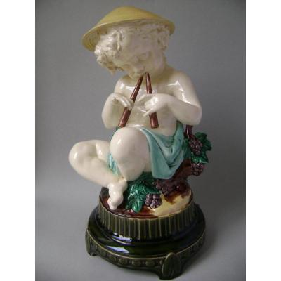 Majolica - Boy Playing Aulos By Léon Sazérat, Limoges (circa 1870)