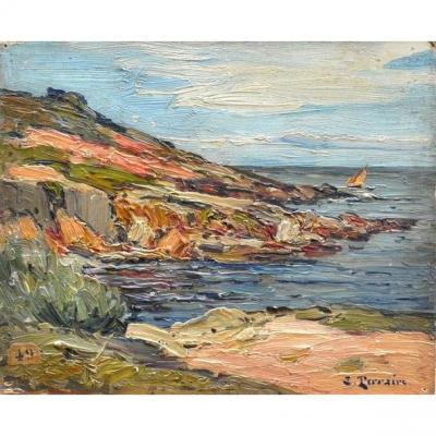 Clovis Terraire (1858 - 1931) '' Mediterranean Landscape''