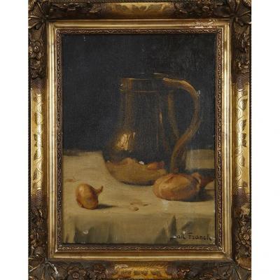 Franck Bail (1858-1924) ''Nature morte au broc et oignons sur un entablement''