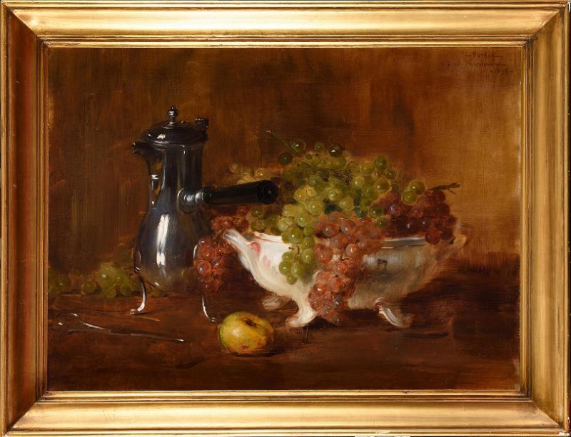 Ernest Bordes (1852 -1914) ''Nature morte à la verseuse et coupe de raisins'' Huile sur toile -photo-2