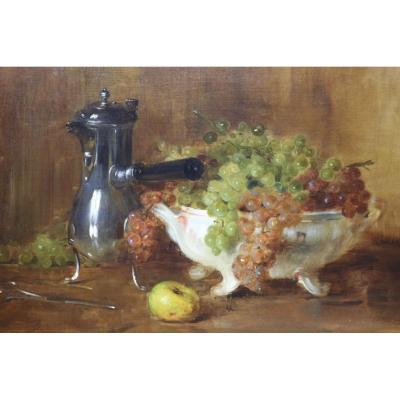 Ernest Bordes (1852 -1914) 'still-life With Jug And Cup Of Grapes' Oil On Canvas