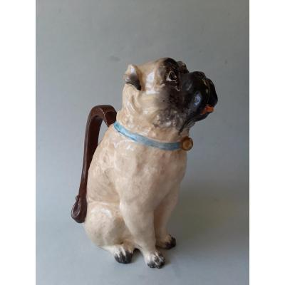 19th Century English Majolica Pitcher ''pug''