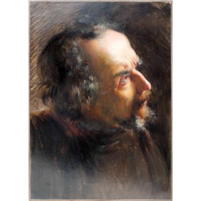 Joseph van Severdonck (1819–1905) Portrait d'homme de profil