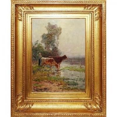 Clovis Terraire (1858 - 1931) ''Vaches au bord de l'étang''