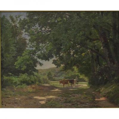 Clovis Terraire (1858 - 1931) ''Le chemin dans la forêt''