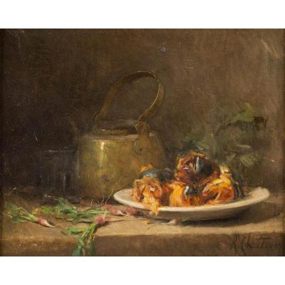 René Louis Chretien (1867-1943) ''still Life With Copper Kettle And Chestnuts''