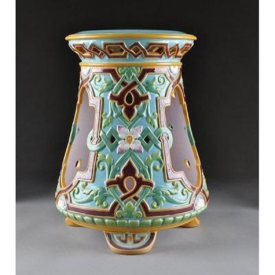 Majolica - Garden Seat Designed By Christopher Dresser Signed Minton (circa 1870)