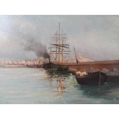 ''new Harbor Moles, Marseille'' Oil On Cardboard Signed Veran Dated 1887