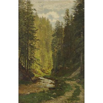 '' Sous Bois '' Painted By Emile Isenbart (1846 - 1921) Dimensions 36.5 X 24.5 Cm.