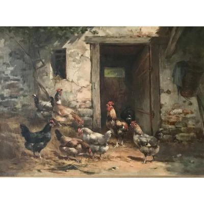 G. Angelvy French School 19th Century ``poultry In A Barn''