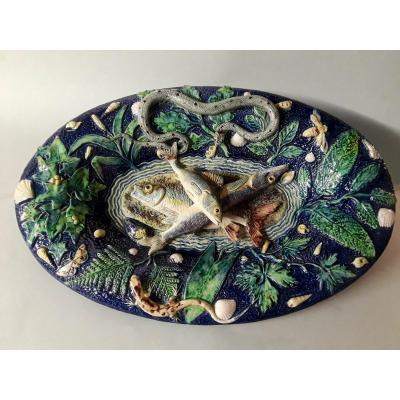 """Palissy Style - French Majolica Figural """"trompe-l'oeil"""" By Victor Barbizet(1808-1884)"""