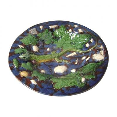 """Palissy Style - French Majolica Figural """"trompe-l'oeil"""" By Georges Pull (1810-1889)"""