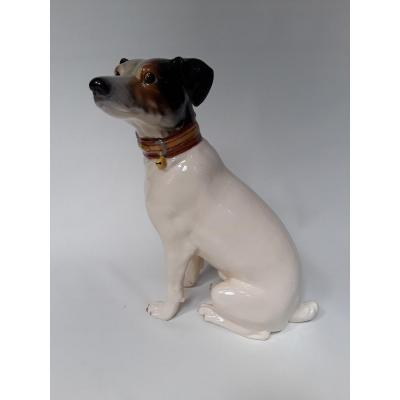 Extremely Rare French Majolica ''jack Russell Terrier'' Signed Jerome Massier