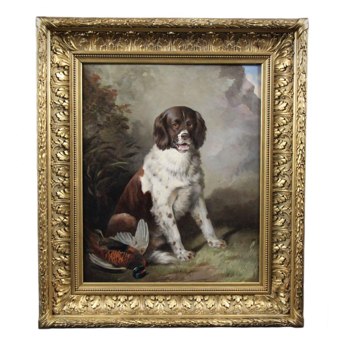 695896f32f9d Oil Painting On Canvas Scene Hunting Portrait Of Nineteenth Century Dog flag