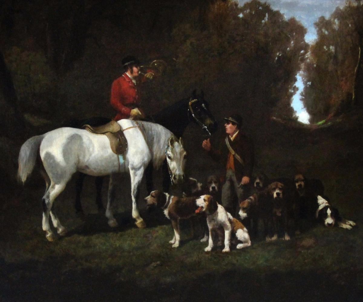 Beautiful Oil On Canvas, Hunting Scene Atr. Alfred De Dreux 19th