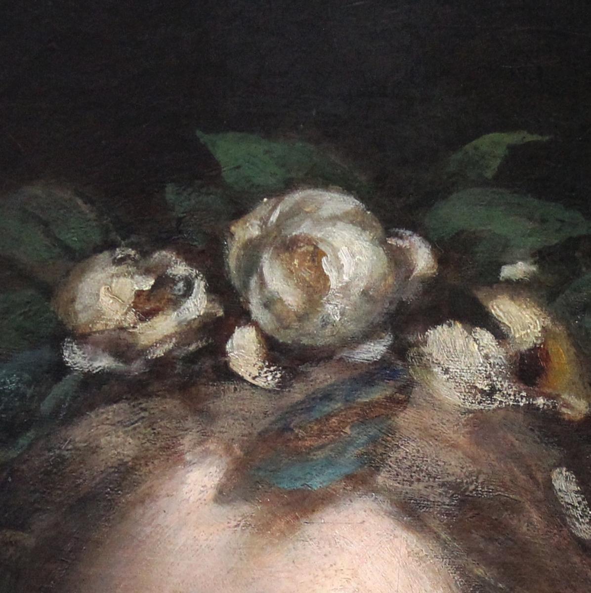 Oil On Canvas, Portrait Lady Art Nouveau XIX With Oval Frame-photo-3