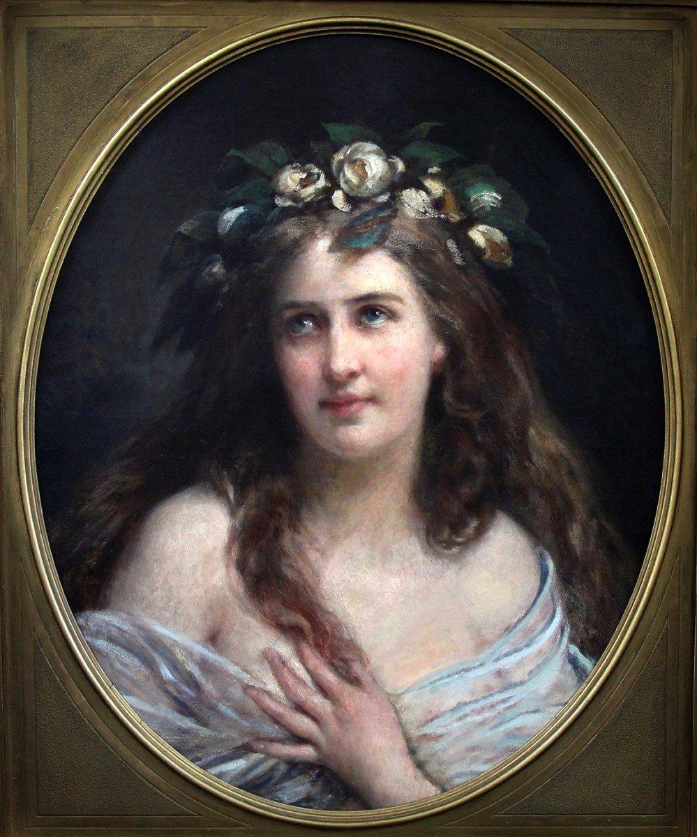 Oil On Canvas, Portrait Lady Art Nouveau XIX With Oval Frame-photo-1