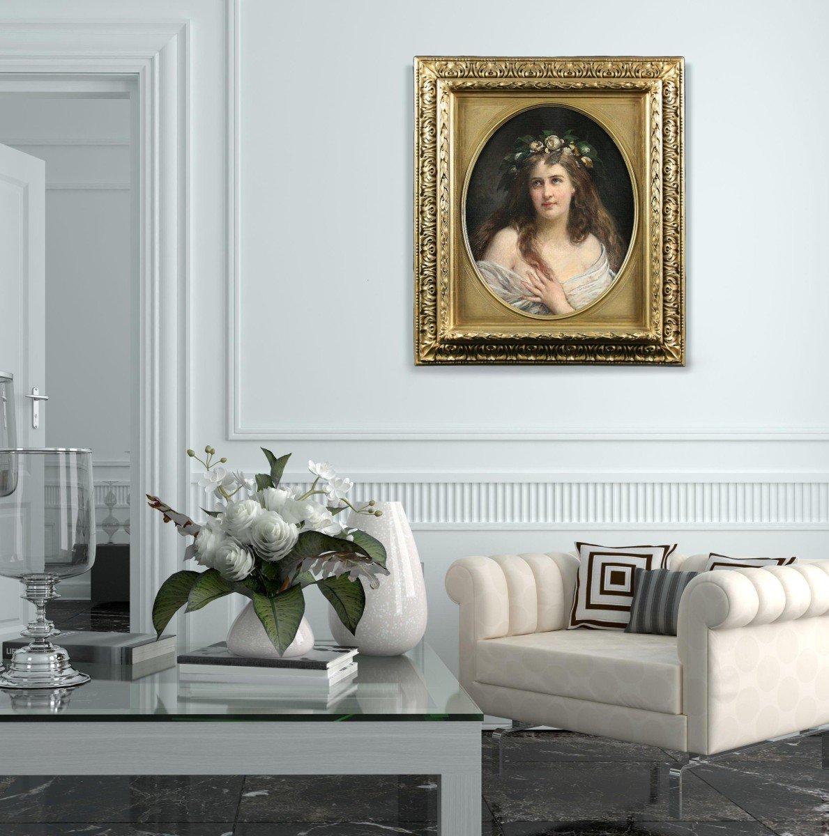 Oil On Canvas, Portrait Lady Art Nouveau XIX With Oval Frame-photo-2