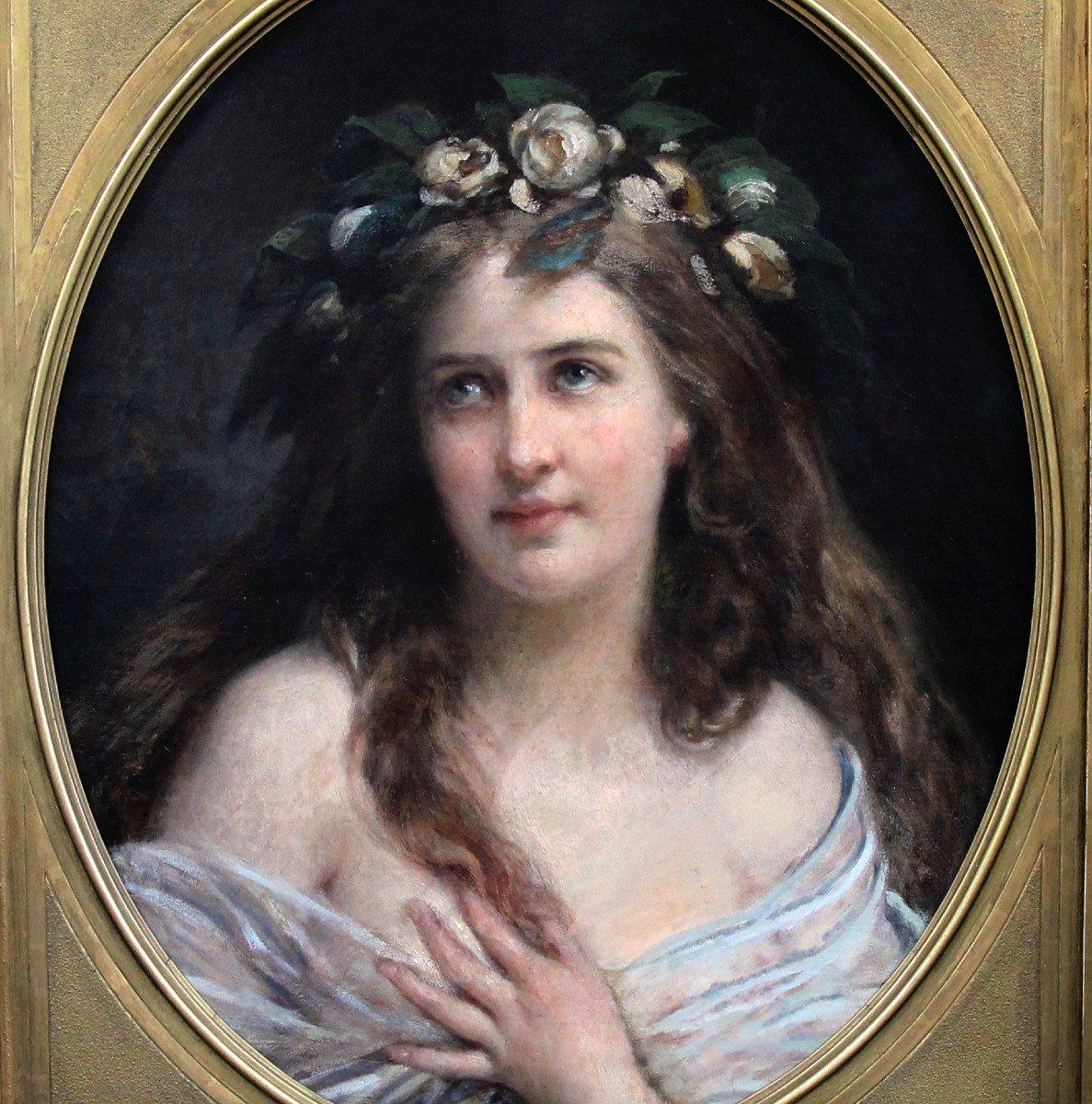 Oil On Canvas, Portrait Lady Art Nouveau XIX With Oval Frame