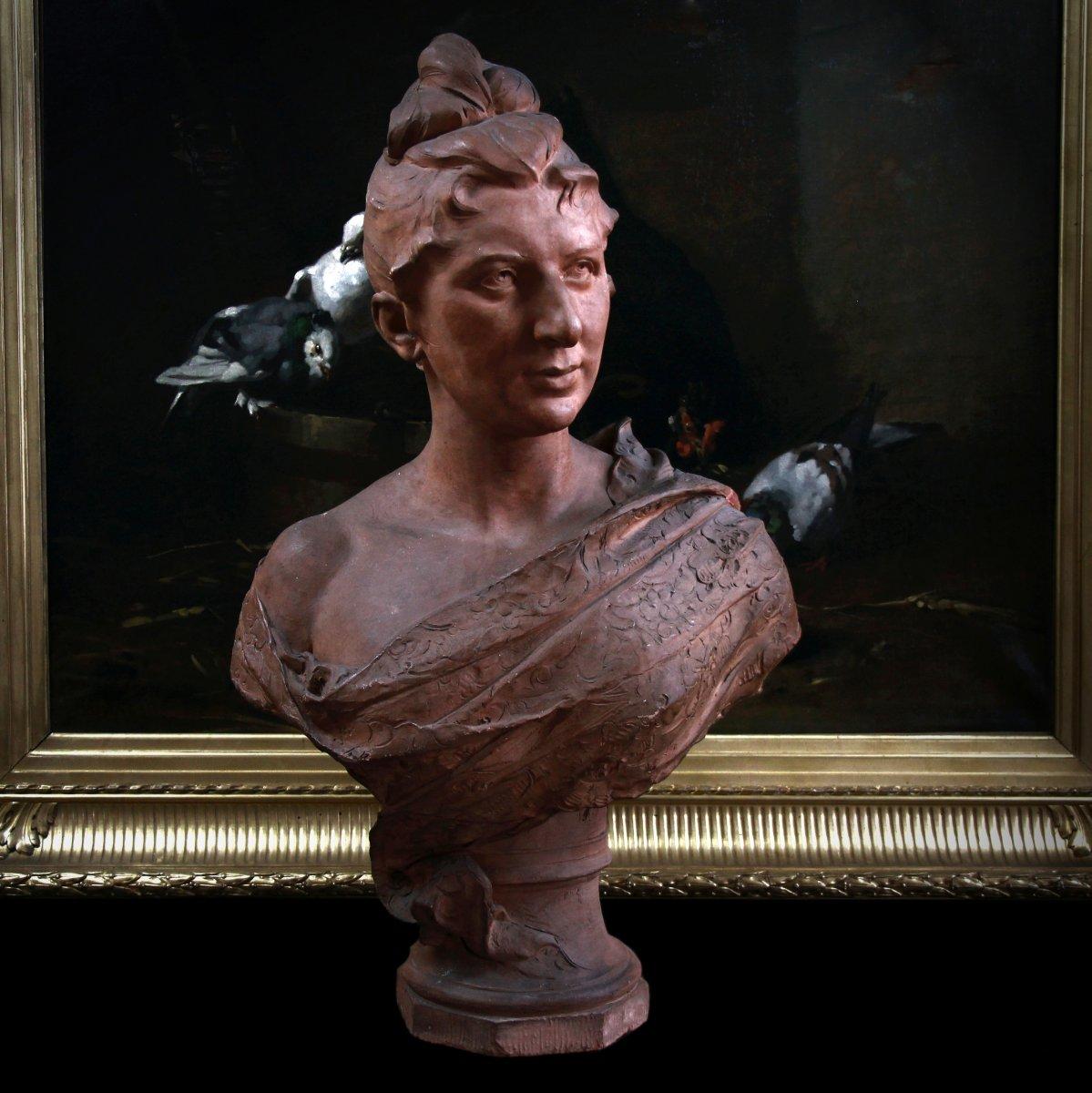 Buste En Terre Cuite Signé Jozef Willems , XIXème Siècle-photo-2