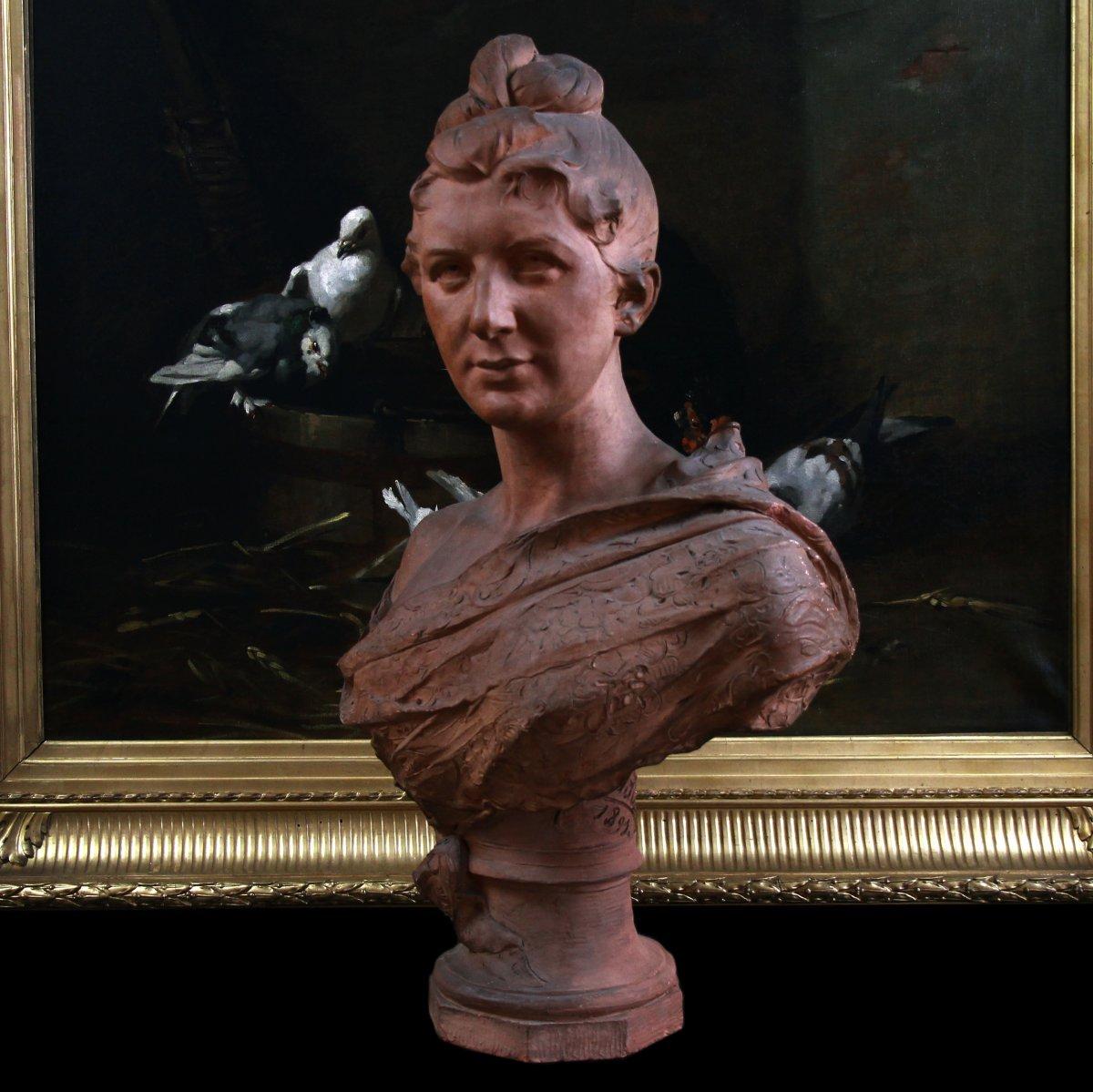 Buste En Terre Cuite Signé Jozef Willems , XIXème Siècle-photo-1