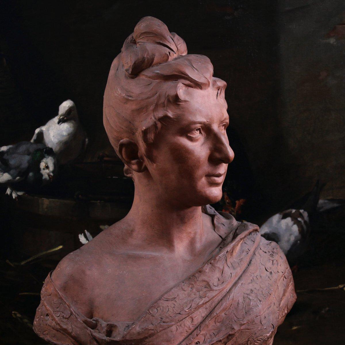 Buste En Terre Cuite Signé Jozef Willems , XIXème Siècle-photo-3