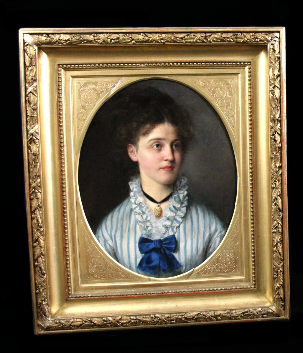 Superbe Portrait, Huile Sur Toile Par Hugo Fredrik Salmson (1843-1894)