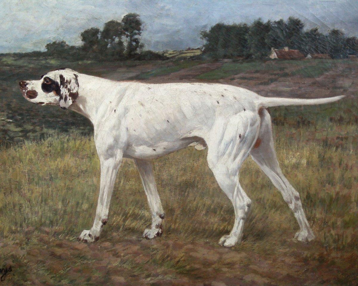 Oil Painting On Canvas, Hunting Dog Alexander Clarys Belgian School