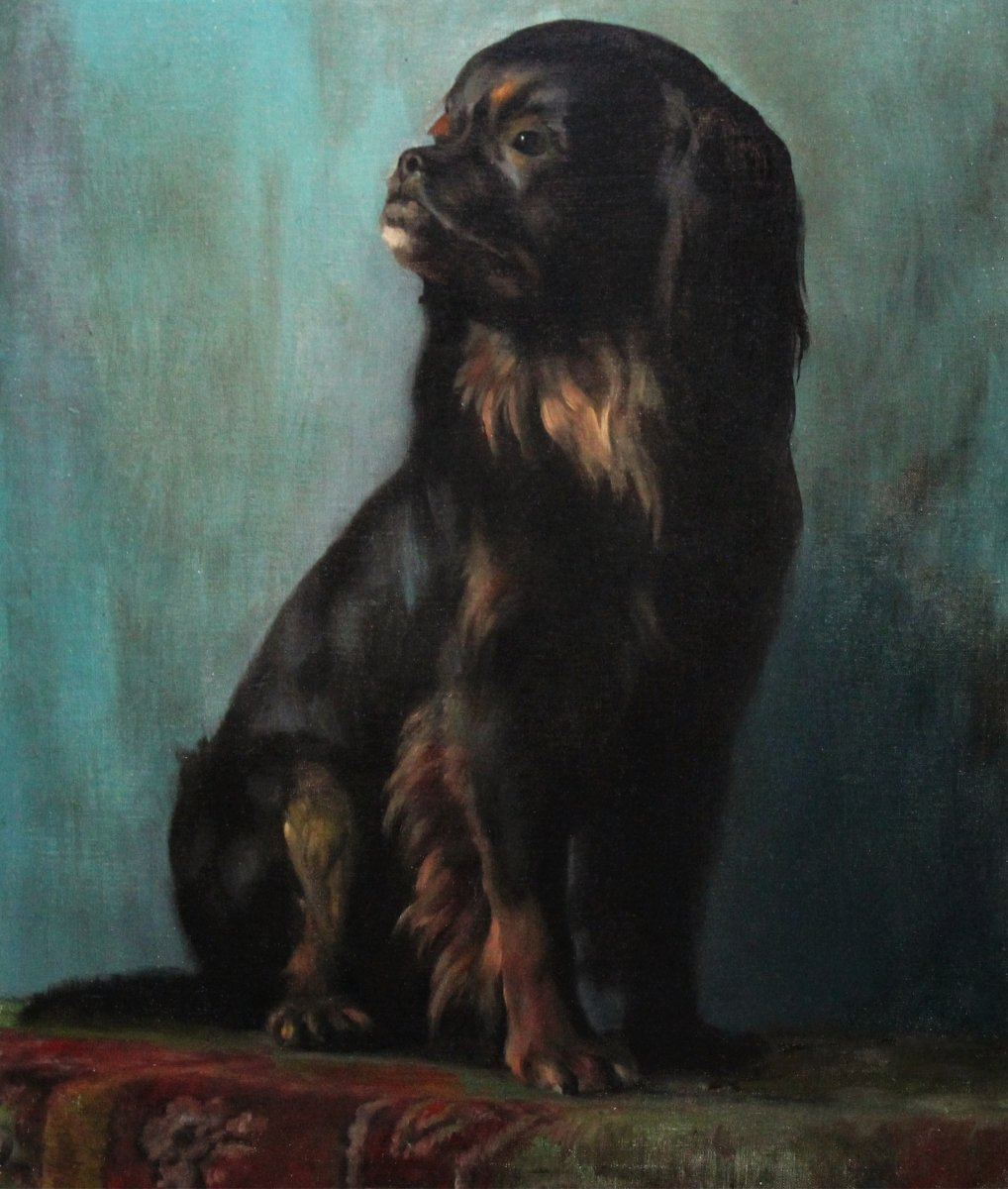 Oil Painting On Canvas, Portrait Of A Pekingese Dog 20th Century