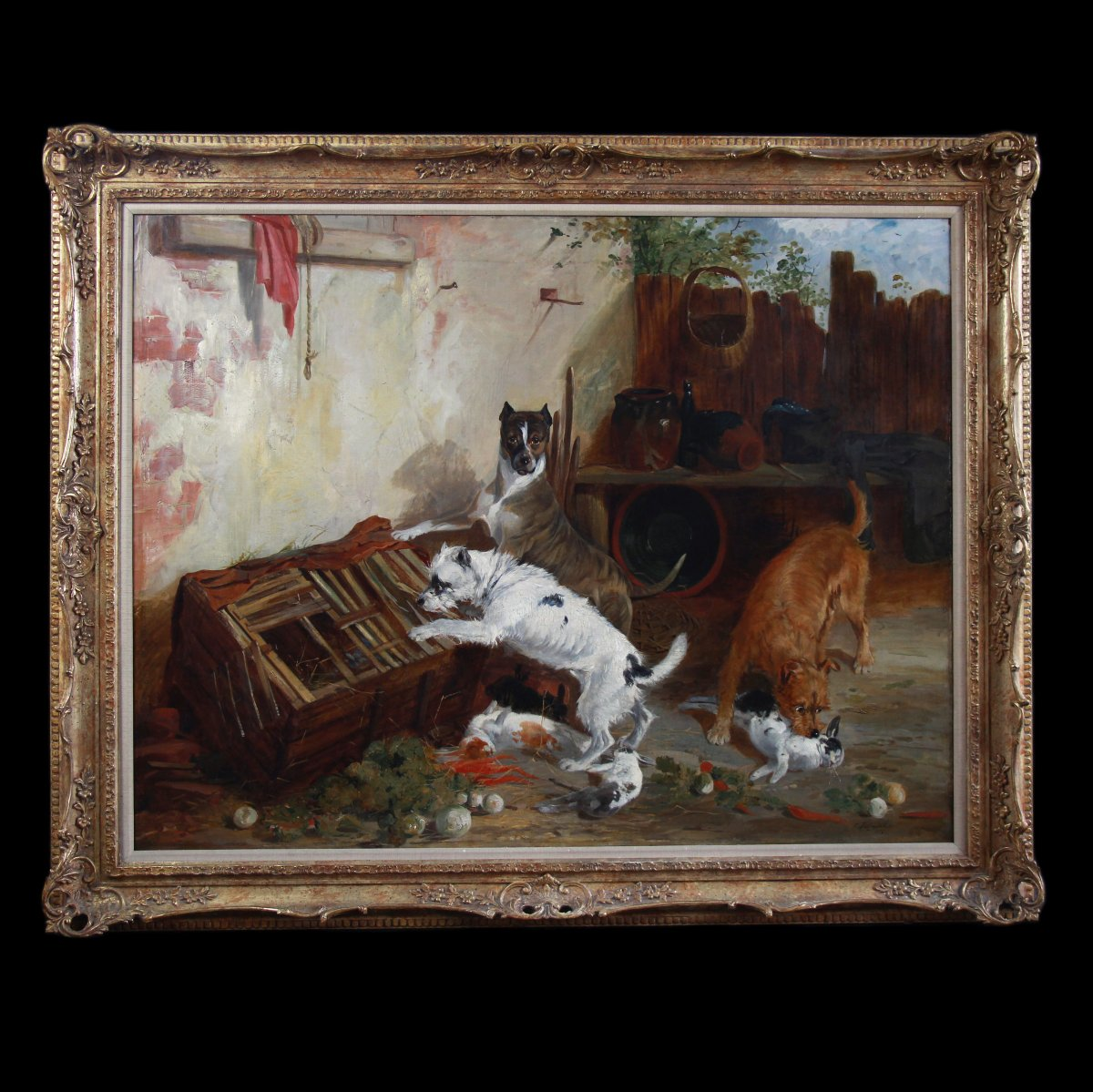Paintings Oil On Canvas, Scene With Terrier Dogs And Rabbits By Richard Ansdell