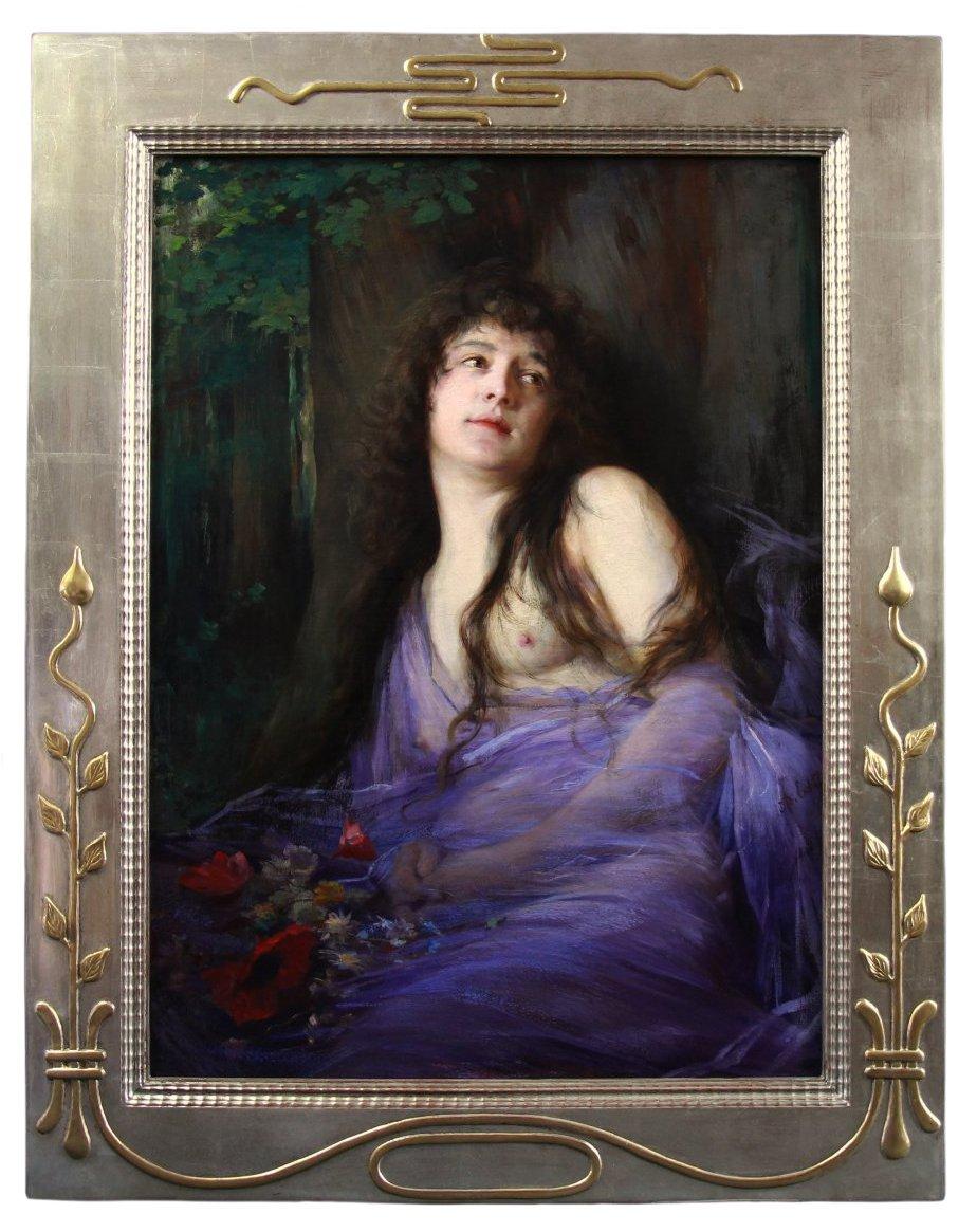 Huile Sur Toile , Portrait d'Une Nymphe Art Nouveau XIXème