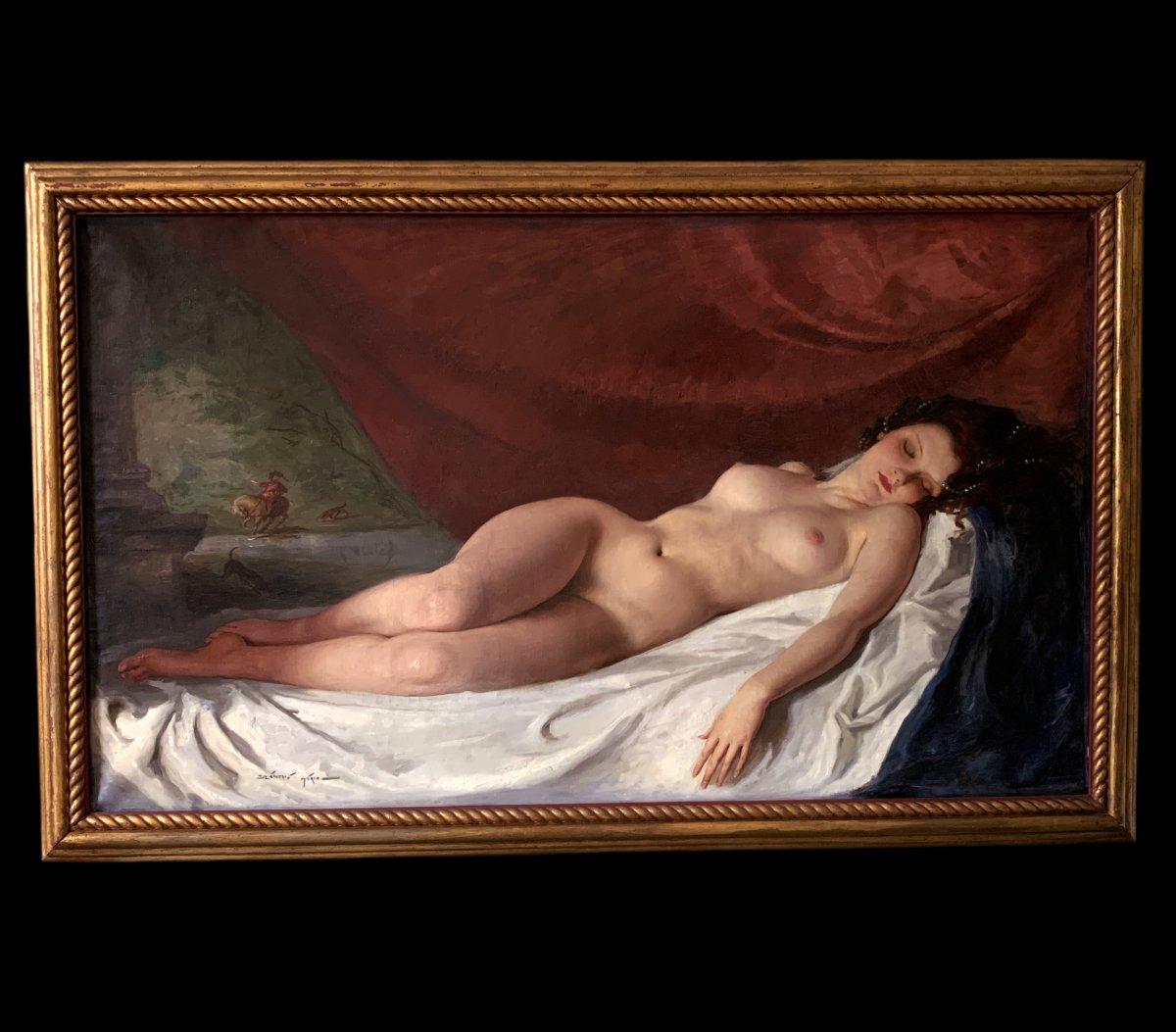 Huile Sur Toile , Portrait Nu Par Maria Szantho école Hongroise