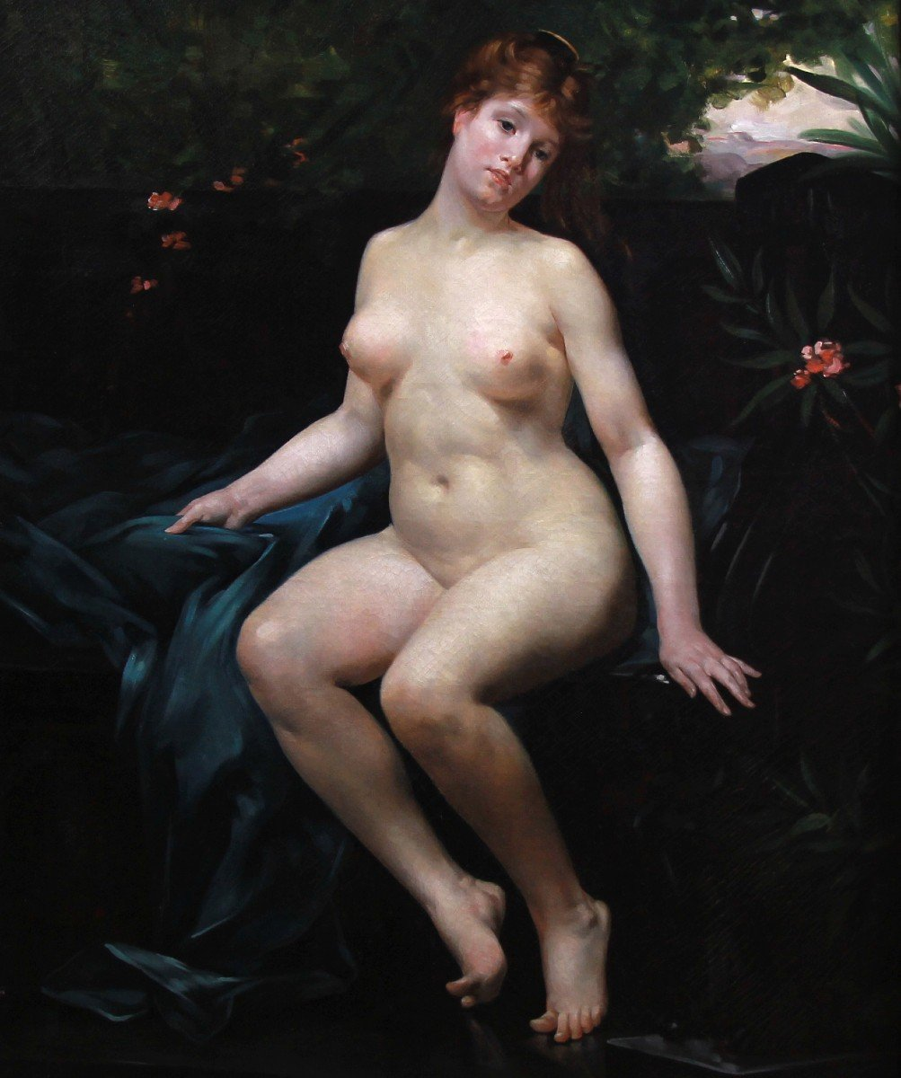 Oil Painting On Canvas, Naked In The Bath By Emmanuel Stanek XIX