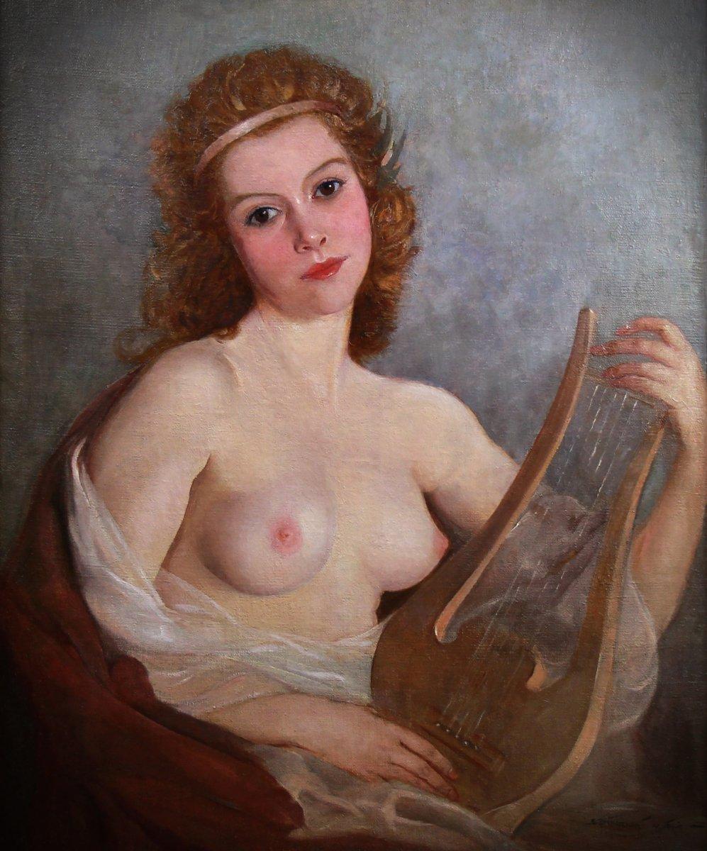 Huile Sur Toile , Portrait nu Dame Avec Lyre Par Maria Szantho-photo-3