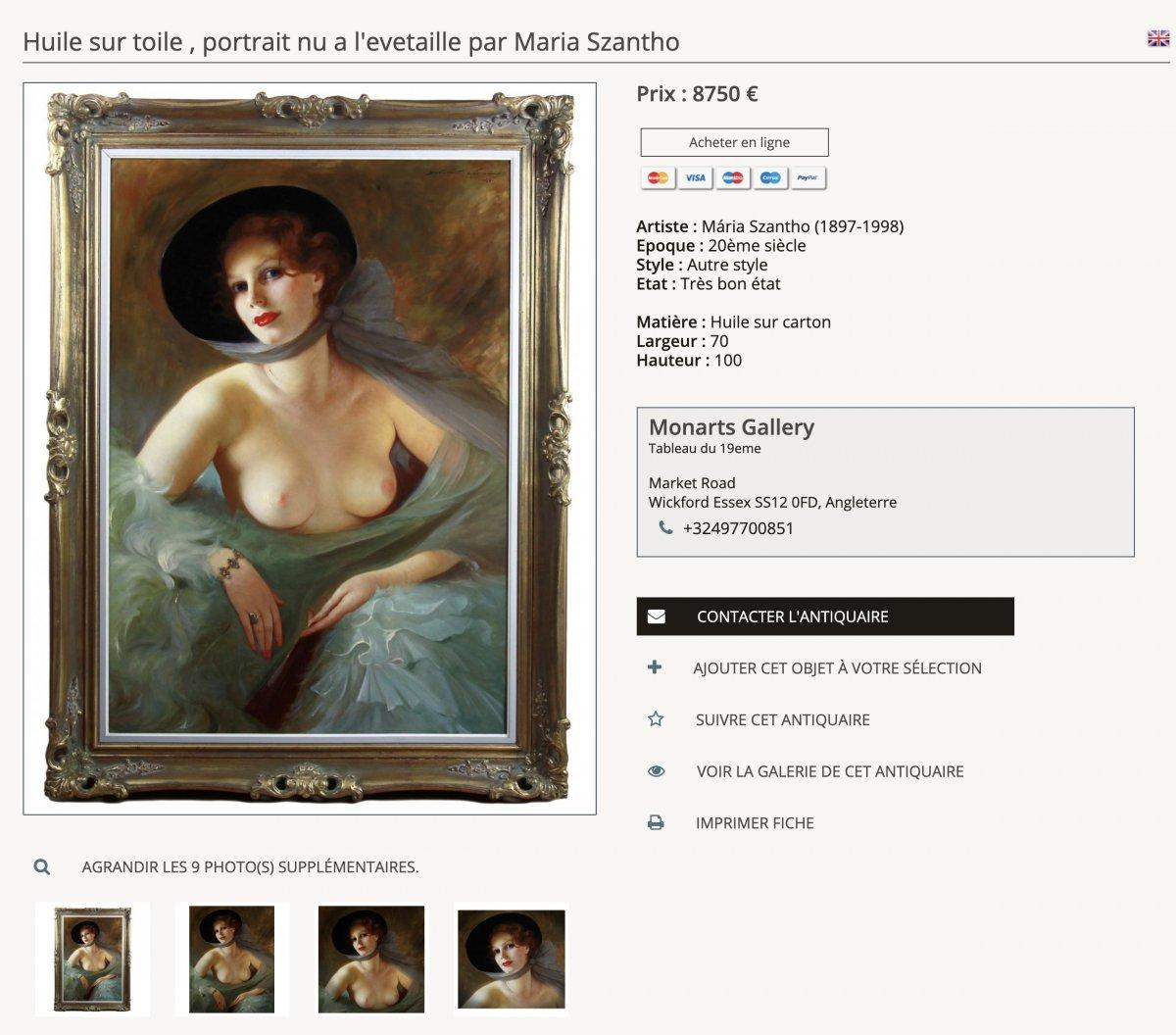 Huile Sur Toile , Portrait nu Dame Avec Lyre Par Maria Szantho-photo-1