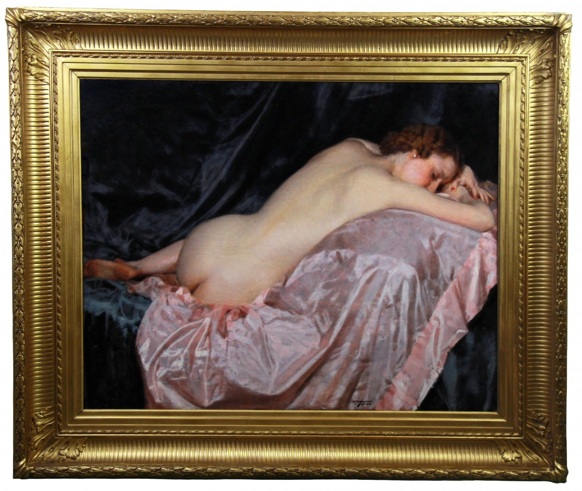 Oil On Canvas, Female Nude On A Pink Sheet By Maurice Joron