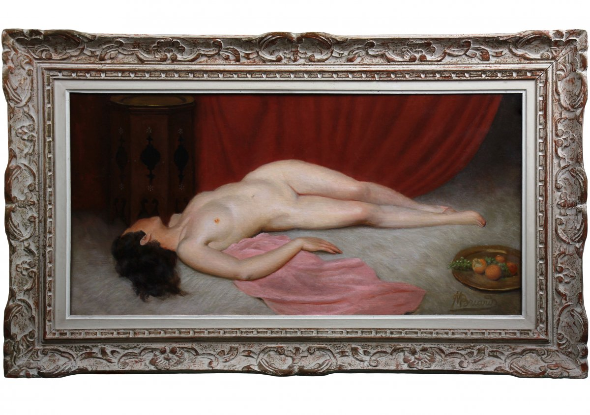 Tableau Peinture Odalisque Huile Sur Toile , Nu Orientaliste Maurice Briard