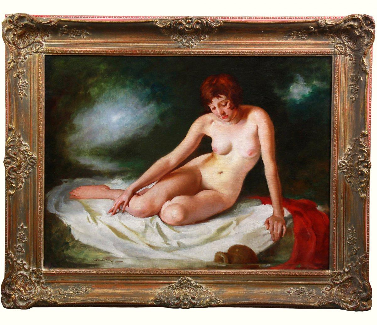 Huile Sur Toile , Portrait Nu Au Bain Par Maria Szantho
