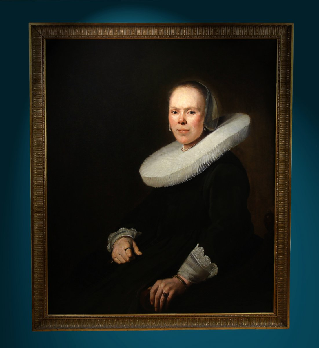 Portrait De Femme Baroque Huile Sur Toile école Néerlandaise-photo-2